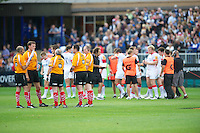 20120803 Copyright onEdition 2012©.Free for editorial use image, please credit: onEdition..JP Morgan branding on the match officials at The Recreation Ground, Bath in the Final round of The J.P. Morgan Asset Management Premiership Rugby 7s Series...The J.P. Morgan Asset Management Premiership Rugby 7s Series kicked off again for the third season on Friday 13th July at The Stoop, Twickenham with Pool B being played at Edgeley Park, Stockport on Friday, 20th July, Pool C at Kingsholm Gloucester on Thursday, 26th July and the Final being played at The Recreation Ground, Bath on Friday 3rd August. The innovative tournament, which involves all 12 Premiership Rugby clubs, offers a fantastic platform for some of the country's finest young athletes to be exposed to the excitement, pressures and skills required to compete at an elite level...The 12 Premiership Rugby clubs are divided into three groups for the tournament, with the winner and runner up of each regional event going through to the Final. There are six games each evening, with each match consisting of two 7 minute halves with a 2 minute break at half time...For additional images please go to: http://www.w-w-i.com/jp_morgan_premiership_sevens/..For press contacts contact: Beth Begg at brandRapport on D: +44 (0)20 7932 5813 M: +44 (0)7900 88231 E: BBegg@brand-rapport.com..If you require a higher resolution image or you have any other onEdition photographic enquiries, please contact onEdition on 0845 900 2 900 or email info@onEdition.com.This image is copyright the onEdition 2012©..This image has been supplied by onEdition and must be credited onEdition. The author is asserting his full Moral rights in relation to the publication of this image. Rights for onward transmission of any image or file is not granted or implied. Changing or deleting Copyright information is illegal as specified in the Copyright, Design and Patents Act 1988. If you are in any way unsure of your right to publish this image please contact onE
