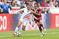 Houston, TX - Sunday April 08, 2018: Mallory Pugh, Greta Espinoza during an International Friendly soccer match between the USWNT and Mexico at BBVA Compass Stadium.