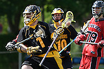 GER - Hannover, Germany, May 30: During the Men Lacrosse Playoffs 2015 match between HTHC Hamburg (black) and DHC Hannover (red) on May 30, 2015 at Deutscher Hockey-Club Hannover e.V. in Hannover, Germany. Final score 17:2. (Photo by Dirk Markgraf / www.265-images.com) *** Local caption *** Glenn Sanmann #1 of HTHC Hamburg