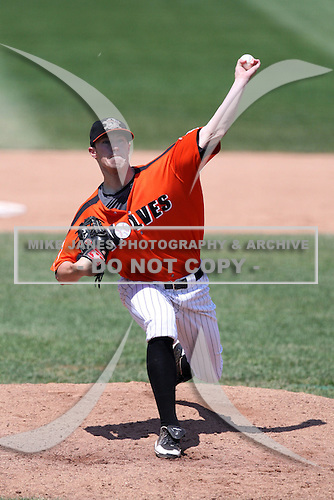 Erie Seawolves Pitcher Jay Voss (44) delivers a pitch during a game vs. the Trenton Thunder at Jerry Uht Park in Erie, Pennsylvania;  June 24, 2010.   Trenton defeated Erie 11-2  Photo By Mike Janes/Four Seam Images