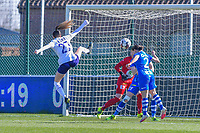 Tessa Wullaert (27) of Anderlecht , Rkia Mazrouai (2) of AA Gent pictured during a female soccer game between  AA Gent Ladies and RSC Anderlecht on the 17th matchday of the 2020 - 2021 season of Belgian Scooore Womens Super League , saturday 20 th of March 2021 in Oostakker , Belgium . PHOTO SPORTPIX.BE | SPP | STIJN AUDOOREN