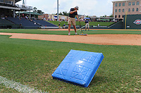 "The bases were painted blue for colon cancer awareness Sunday at Fluor Field at the West End for the ""Drive Out Colon Cancer"" Greenville Drive game sponsored by BlueCross BlueShield of South Carolina. The Drive lost to intrastate rival Charleston RiverDogs, 7-5. (Tom Priddy/Four Seam Images)"