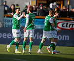 09.02.2020 BSC Glasgow v Hibs: Marc McNulty scores the opener for Hibs and celebrates