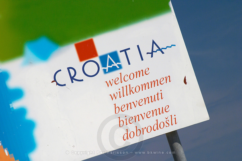 A detail of a sign saying Croatia Welcome Orebic town, holiday resort on the south coast of the Peljesac peninsula. Orebic town. Peljesac peninsula. Dalmatian Coast, Croatia, Europe.