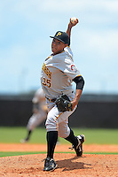 GCL Pirates pitcher Miguel Rosario (35) during a game against the GCL Astros on July 16, 2013 at Osceola County Complex in Kissimmee, Florida.  GCL Pirates defeated the GCL Astros 6-3.  (Mike Janes/Four Seam Images)