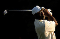 NBA legend Michael Jordan watches his shot  while playing a practice round with Tiger Woods during the 2007 Wachovia Championships at Quail Hollow Country Club in Charlotte, NC.