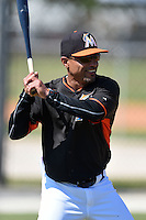 Miami Marlins coach Angel Espada (1) before a minor league spring training game against the St. Louis Cardinals on March 31, 2015 at the Roger Dean Complex in Jupiter, Florida.  (Mike Janes/Four Seam Images)