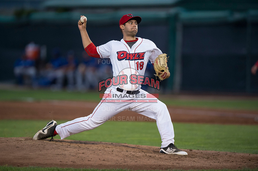 Orem Owlz relief pitcher Johnny Morell (18) delivers a pitch during a Pioneer League game against the Ogden Raptors at Home of the OWLZ on August 24, 2018 in Orem, Utah. The Ogden Raptors defeated the Orem Owlz by a score of 13-5. (Zachary Lucy/Four Seam Images)