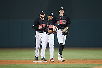 (L-R) Winston-Salem Warthogs outfielders Jagger Rusconi (22), Duke Ellis (11), and Yoelqui Cespedes (15) celebrate their win over the Jersey Shore BlueClaws at Truist Stadium on July 21, 2021 in Winston-Salem, North Carolina. (Brian Westerholt/Four Seam Images)