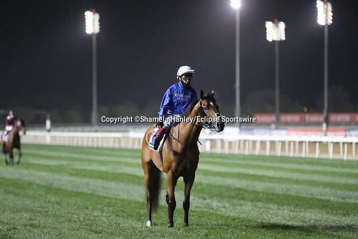 March 27, 2021: DUBAI FUTURE (GB) #2, in the post parade for the Dubai Sheema Classic on Dubai World Cup Day, Meydan Racecourse, Dubai, UAE. Shamela Hanley/Eclipse Sportswire/CSM
