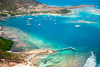 aerial view of Clifton, Union Island, Saint Vincent and the Grenadines, Caribbean Sea, Atlantic Ocean