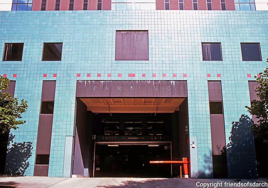 Michael Graves: Portland Building. 4th Ave. side, garage entrance.  Photo '86.