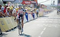 Frederik Willems (BEL) over the finish line<br /> <br /> Tour de France 2013<br /> stage 13: Tours to Saint-Amand-Montrond, 173km