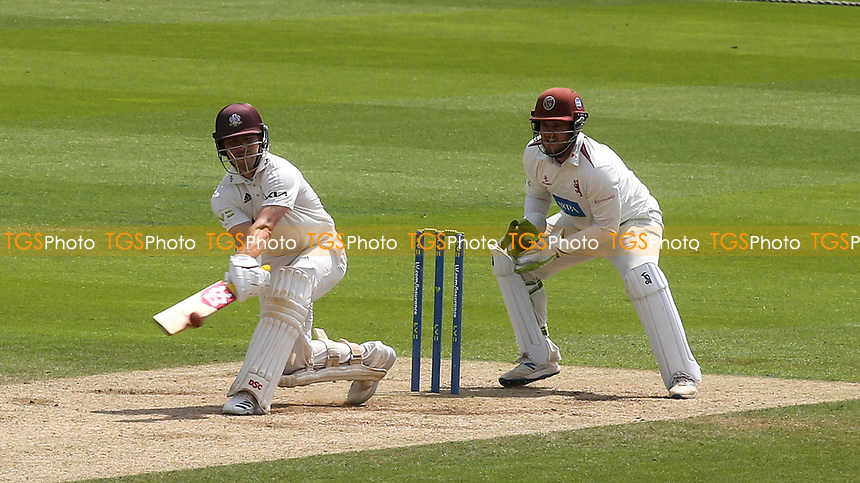 Surrey batsman, Rory Burns reverse sweeps Jack Leach for six during Surrey CCC vs Somerset CCC, LV Insurance County Championship Group 2 Cricket at the Kia Oval on 13th July 2021