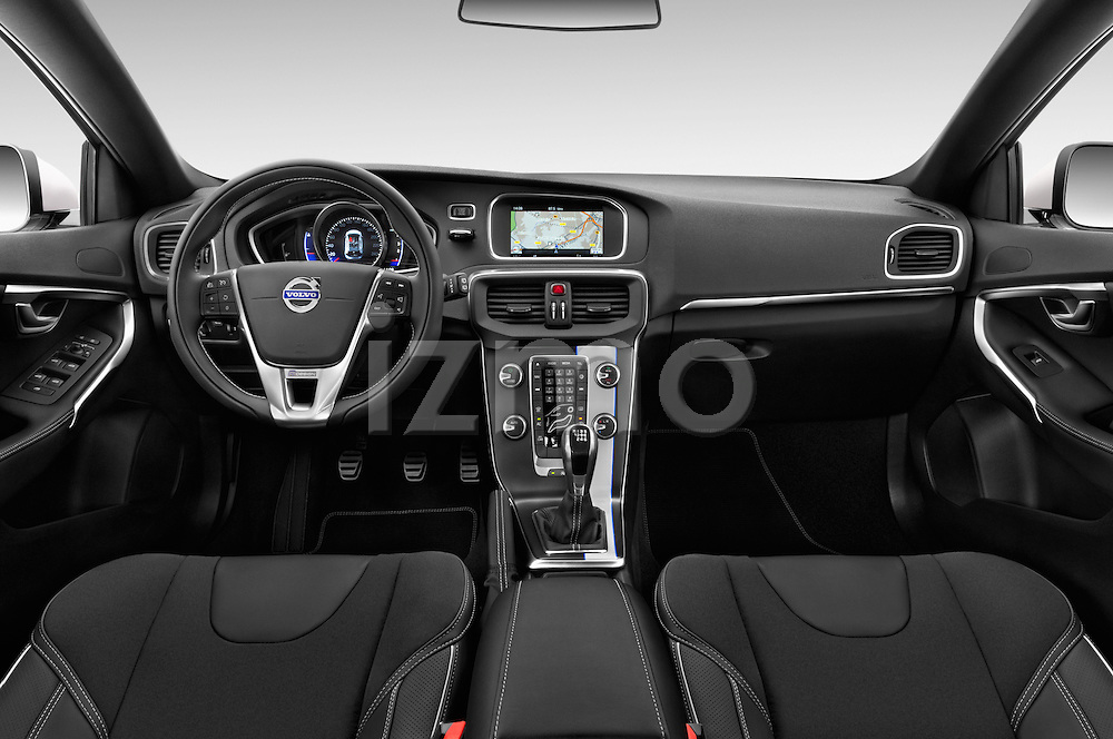 Stock photo of straight dashboard view of 2015 Volvo V40 R-Design 5 Door Hatchback Dashboard