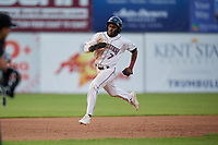 Mahoning Valley Scrappers Korey Holland (7) running the bases during a NY-Penn League game against the Hudson Valley Renegades on July 15, 2019 at Eastwood Field in Niles, Ohio.  Mahoning Valley defeated Hudson Valley 6-5.  (Mike Janes/Four Seam Images)