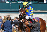 April 03, 2021: #1 Jouster and jockey Luis Saez win the 33rd running of the Appalachian Presented by Japan racing Associaction Grade 2 $200,000 for owner Starlight racing and trainer Todd Pletcher at Keeneland Racecourse in Lexington, KY on April 03, 2021.  Candice Chavez/ESW/CSM