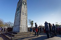 Pictured: Members of the armed forces are joined by the public at the Cenotaph in Swansea, Wales, UK. Sunday 10 November 2019<br /> Re: Remembrance SUnday, a service to commemorate those who lost their lives in conflict has been held at the Cenotaph in Swansea, Wales, UK.