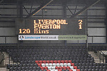 Liverpool Ladies 2 Everton Ladies 1, 19/03/2017. Select Security Stadium, SSE FA Cup Fifth Round. The scoreboard at the end of extra time in the game between Liverpool Ladies v Everton Ladies at The Select Security Stadium, Widnes, in the Women's SSE FA Cup Fifth Round. Photo by Paul Thompson.