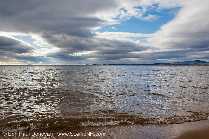 Sebago Lake in Casco, Maine on a cloudy autumn day from Sebago Lake State Park. Sebago Lake is the deepest and second largest lake in the state of Maine.