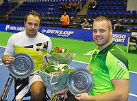 Rotterdam, Netherlands, December 19, 2015,  Topsport Centrum, Lotto NK Tennis, Wheelchair mens final, winners: Tom Egberink (L) and Maikel Scheffers (NED)<br /> Photo: Tennisimages/Henk Koster