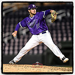 Pitcher Rob Hughes (12) of the Furman Paladins delivers a pitch in a game against the Clemson Tigers on Tuesday, March 5, 2019, at Fluor Field at the West End in Greenville, South Carolina. Clemson won, 3-1. (Tom Priddy/Four Seam Images)