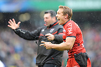 Jonny Wilkinson of RC Toulon shows his delight after winning the Heineken Cup Final between ASM Clermont Auvergne and RC Toulon at the Aviva Stadium, Dublin on Saturday 18th May 2013 (Photo by Rob Munro)