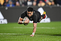 3rd July 2021, Auckland, New Zealand;  Rieko Ioane scores a try.<br /> New Zealand All Blacks versus Tonga, Steinlager Series, international rugby union test match. Mt Smart Stadium, Auckland. New Zealand.