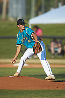 Mooresville Spinners starting pitcher Joe Gregorie (48) (Surry CC) in action against the Dry Pond Blue Sox at Moor Park on July 2, 2020 in Mooresville, NC.  The Spinners defeated the Blue Sox 9-4. (Brian Westerholt/Four Seam Images)