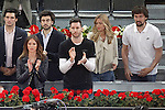 Real Madrid's basketball team Sergio Llull (r) and his wife Almudena Canovas (2r) and Rudy Fernandez (2l) and his wife Helen Lindes (l) during Madrid Open Tennis 2016 match.May, 5, 2016.(ALTERPHOTOS/Acero)