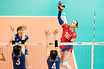 Wing spiker Irina Voronkova of Russia (R) spikes the ball during the FIVB Volleyball World Grand Prix match between Japan vs Russia on 23 July 2017 in Hong Kong, China. Photo by Marcio Rodrigo Machado / Power Sport Images
