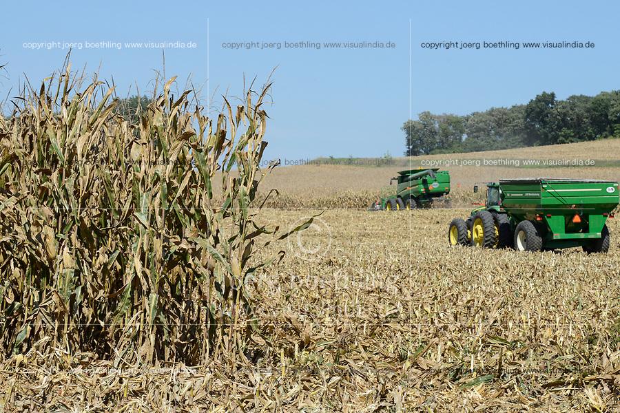 USA, Nebraska, Omaha Reservation, Omaha Nations Farm,  corn harvest with John Deere combine harvester