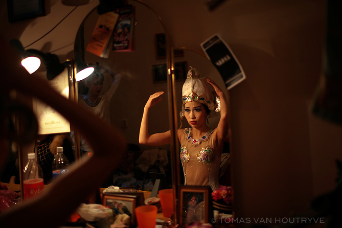 Actors prepare for a theatre dance production in Elista, Republic of Kalmykia, Russian Federation on May 6, 2010.