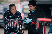 US national champion COMPTON Katie (USA/KFC Racing p/b Trek/Panache) checking videofootage of the U23 race as she is warming up to race herself<br /> <br /> Brussels Universities Cyclocross (BEL) 2019<br /> Women's Race<br /> DVV Trofee<br /> ©kramon