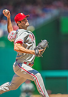 26 May 2013: Philadelphia Phillies starting pitcher Cole Hamels on the mound against the Washington Nationals at Nationals Park in Washington, DC. The Nationals defeated the Phillies 6-1, taking the rubber game of their 3-game weekend series. Mandatory Credit: Ed Wolfstein Photo *** RAW (NEF) Image File Available ***
