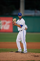 Dunedin Blue Jays starting pitcher Turner Larkins (23) during a Florida State League game against the Jupiter Hammerheads on May 15, 2019 at Jack Russell Memorial Stadium in Clearwater, Florida.  Dunedin defeated Jupiter 8-4 in nine innings, the second game of a doubleheader.  (Mike Janes/Four Seam Images)
