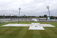 The covers on the pitch as rain falls ahead of Warwickshire CCC vs Essex CCC, Specsavers County Championship Division 1 Cricket at Edgbaston Stadium on 11th September 2019