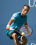 Phillipp Kohlschreiber (GER) loses to Roger Federer (SUI) 6-3, 6-4, 6-4 at the US Open in Flushing, NY on September 5, 2015.