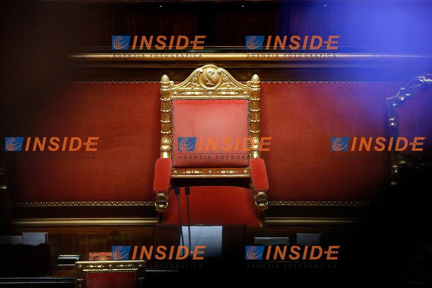 The empty chair of the Prima Minister during the information at the Senate about the violence in the prison of Santa Maria Capua Vetere<br /> Rome (Italy), July 21st 2021<br /> Photo Samantha Zucchi Insidefoto