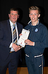 St Johnstone FC Academy Awards Night...06.04.15  Perth Concert Hall<br /> Tommy Wright presents a certificate to Nathan Brown<br /> Picture by Graeme Hart.<br /> Copyright Perthshire Picture Agency<br /> Tel: 01738 623350  Mobile: 07990 594431