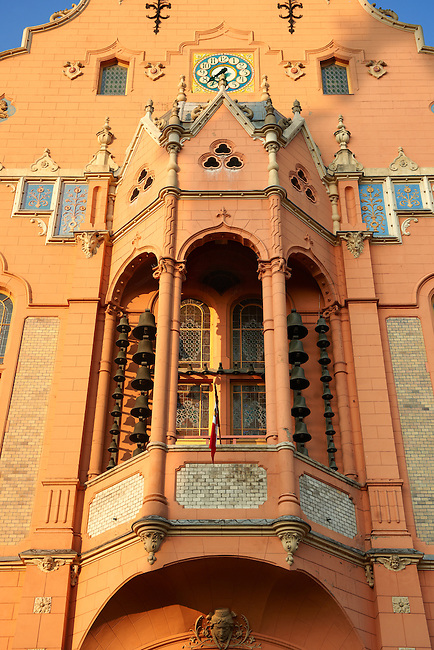 Bell tower of the Art Nouveau (Sezession) City Hall designed by Lechner Ödön with Zolnay tiles, Hungary Kecskemét