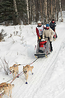 Perry Solmonson w/Iditarider on Trail 2005 Iditarod Ceremonial Start near Campbell Airstrip Alaska SC
