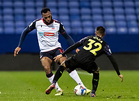 Bolton Wanderers' Reiss Greenidge .competing with Newcastle United U21's Rodrigo Vilca (right) <br /> <br /> Photographer Andrew Kearns/CameraSport<br /> <br /> EFL Papa John's Trophy - Northern Section - Group C - Bolton Wanderers v Newcastle United U21 - Tuesday 17th November 2020 - University of Bolton Stadium - Bolton<br />  <br /> World Copyright © 2020 CameraSport. All rights reserved. 43 Linden Ave. Countesthorpe. Leicester. England. LE8 5PG - Tel: +44 (0) 116 277 4147 - admin@camerasport.com - www.camerasport.com