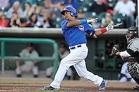 Manny Ramirez #44 of the Iowa Cubs swings against the Omaha Storm Chasers at Principal Park on July 2, 2014 in Des Moines, Iowa. The Cubs  beat Storm Chasers 4-3.   (Dennis Hubbard/Four Seam Images)