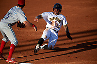 Bradenton Marauders shortstop Stephen Alemais (26) slides into third base in front of third baseman Derek Campbell (25) during a game against the Clearwater Threshers on July 24, 2017 at LECOM Park in Bradenton, Florida.  Bradenton defeated Clearwater 6-3  (Mike Janes/Four Seam Images)