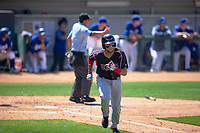 Lake Elsinore Storm Hudson Potts (15) hustles down the first base line against the Rancho Cucamonga Quakes at LoanMart Field on May 28, 2018 in Rancho Cucamonga, California. The Storm defeated the Quakes 8-5.  (Donn Parris/Four Seam Images)