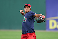 Lowell Spinners pitcher Denyi Reyes (41) throws in the outfield during practice before a game against the Batavia Muckdogs on July 12, 2017 at Dwyer Stadium in Batavia, New York.  Batavia defeated Lowell 7-2.  (Mike Janes/Four Seam Images)