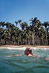 Woman swimming, west coast Mexico, Bahia Tenacatita, La Manzanilla, Jalisco, West coast of Mexico, .