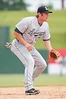 Third baseman Michael Kvasnicka #7 of the Lexington Legends on defense against the Kannapolis Intimidators at Fieldcrest Cannon Stadium on May 11, 2011 in Kannapolis, North Carolina.   Photo by Brian Westerholt / Four Seam Images