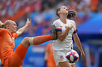 LYON, FRANCE - JULY 07: Stefanie Van Der Gragt #3, Alex Morgan #13 during the 2019 FIFA Women's World Cup France final match between the Netherlands and the United States at Stade de Lyon on July 07, 2019 in Lyon, France.